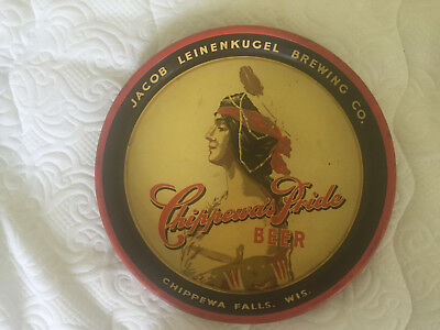 Vintage RARE Chippewa's Pride Beer tray Jacob Leinenkugal Brewing Co.