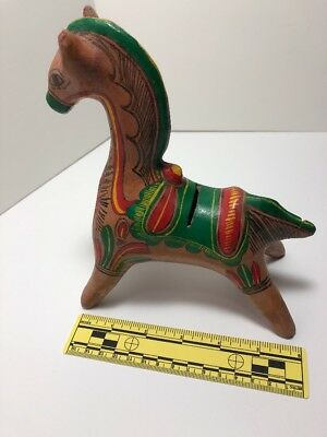 Vintage Tlaquepaque Mexican Pottery Folk Art Colorful Hand Painted Horse Bank