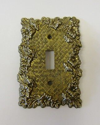 """*** Vintage """"Charm-n-Style"""" Antique Brass Finish Floral Switch Plate Cover ***"""