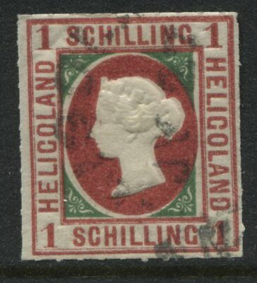 Heligoland QV 1867 1 schilling mint o.g. reprint with fake cancel.