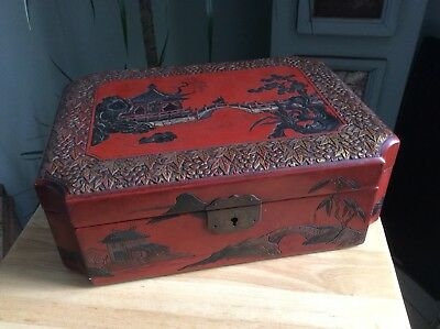 Superb Antique Vintage Chinese Red Lacquer Box Pagoda River Bridge Very Good