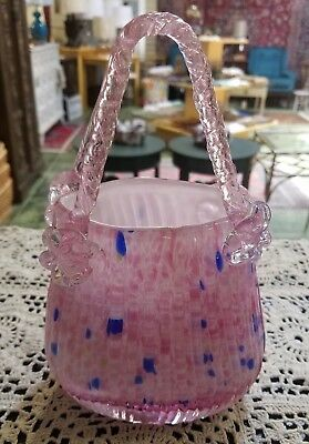 Large Vintage Murano Style Hand Blown Pink Confetti Art Glass Purse