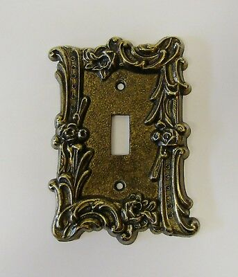 """*** Vintage """"Charm-n-Style"""" Brass Finish """"Floral Scroll"""" Single Switch Cover ***"""