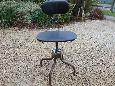 Old Industrial Factory Machinists Chair / Stool Evertaut Vintage Antique