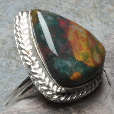 Natural Bloodstone Gems 925 Sterling Silver Plated Over Solid Copper Ring Sz 9