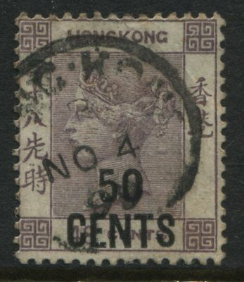 Hong Kong QV 1891 50 cents on 48 cents lilac CDS used