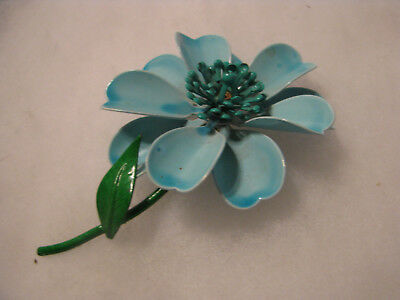 Vintage Blue Enamel Floral Flower Green Enamel Leves Flower Power Brooch Pin