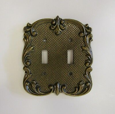 """*** Vintage """"Diamond Cut"""" Brass Finish """"Floral Scroll"""" Double Switch Cover ***"""