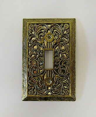 """*** Vintage """"Ornate Filigree"""" Antique Brass Finish Floral Switch Plate Cover ***"""
