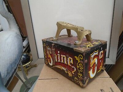 quirky vintage fairground style shoe shine box   unusual wooden box  TAKE A LOOK
