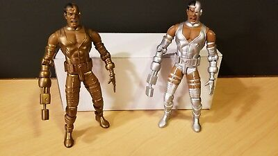 Lot of 2 DC Direct Teen Titans Cyborg Action Figures Gold Silver Gift Set