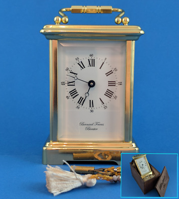 Perfect English Bernard Frères all original 8 day carriage clock