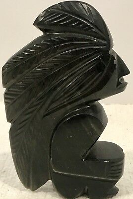 """Aztec Statue Stone Vintage Hand Carved Obsidian 5"""" Mexico Mayan Warrior"""