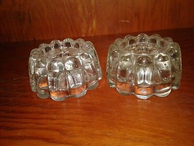 Vintage Pair (2) Crystal Candle Stick Holders Round Elegant Heavy Clear Glass