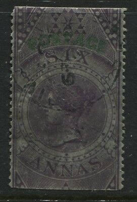 India 1866 6 anna violet used