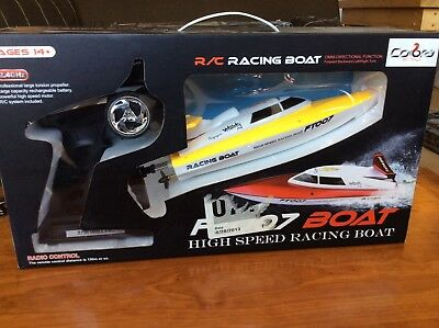IN BOX RC FT007 YELLOW RACING BOAT | Omnidirectional, 2.4ghz Wireless Remote