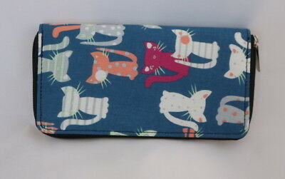 New Blue Cartoon Cats Cat Kitten Zipper Multi Compartment Ladies Wallet Clutch