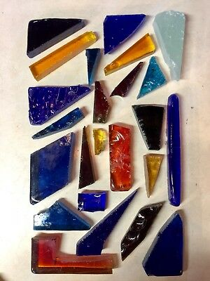 24 Vintage Dalle-De-Verre Faceted Glass Slab Chunks Stained Glass - 14 pounds
