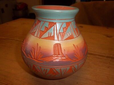 Native American Mesa Verde Red Earth Pottery Vase Signed With Certificate In Uk