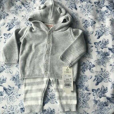 Organic Sweater Hoodie with Ears and Pant Set by Baby Cat and Jack NEWBORN NEW