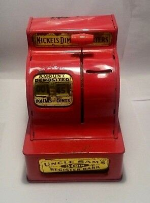 Western Stamping Corp UNCLE SAM'S 3 COIN REGISTER BANK Red -VG Working Condition