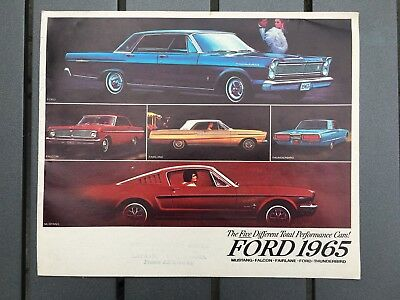 Vintage Ford auto car sales dealer booklet 1965 Mustang Falcon Thunderbird MINTY