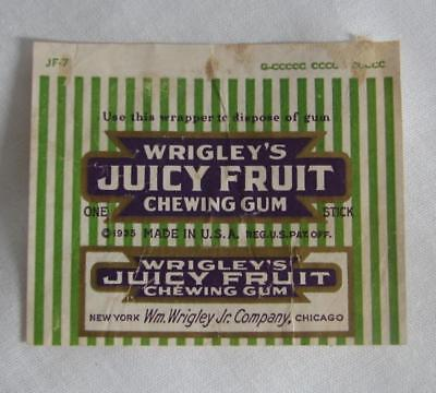 Original Dated 1935 Wrigley's Juicy Fruit Chewing Gum Wrapper New York Chicago