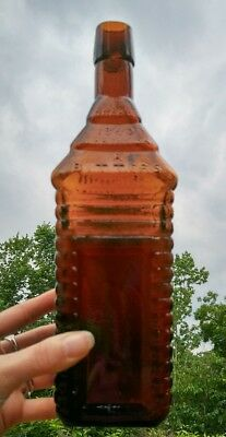 St Drakes 1860 Plantation Bitters Bottle 4 Log Cabin, Amber Glass, Patented 1862