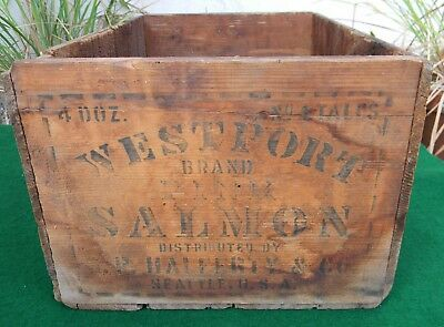Antique Vintage Salmon  Wooden Shipping Crate Box