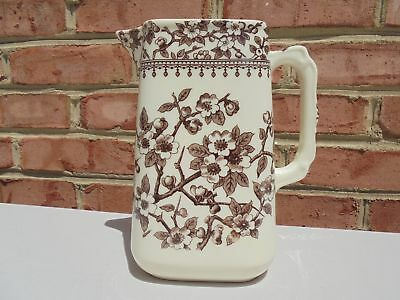 Old Antique Vintage Brown Transferware Water Pitcher Blossoms Aesthetic Style