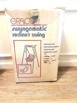 Vintage 1970s Graco Swyngomatic Recliner Hand Crank Wind Up Baby Swing w/Box