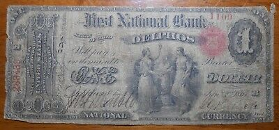 1865 $1 National Currency Note First National Bank Of Delphos Ohio (14)
