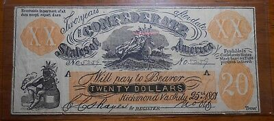 1861 The Confederate States Of America $20 Dollar Bill Richmond Va.  (18)
