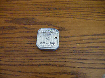 Vintage 1950's Tin Pocket Lucky Dime Register Bank Automatic Opens at 5 Dollars