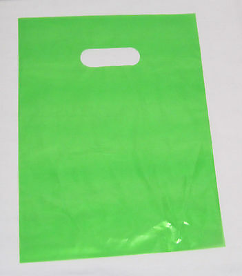 "25   12"" x 15"" LIME-GREEN GLOSSY Low-Density Plastic Merchandise or Party Bags"
