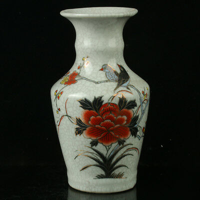 Chinese Porcelain Hand-painted  Flowers & Birds Vase W Qianlong Mark R1115