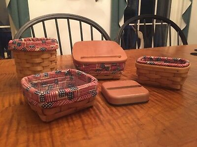 Longaberger Office Basket Set with Flag Liners - 4 baskets and post-it weigh lid