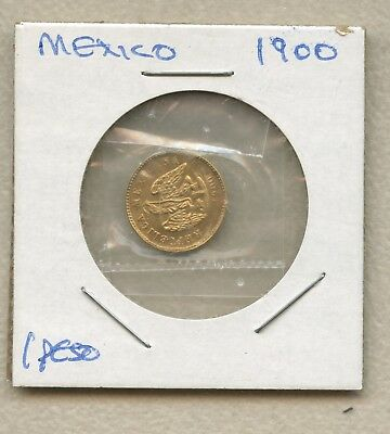 Mexico 1900 Gold 1 Peso Minted in Mexico City Brilliant Uncirculated