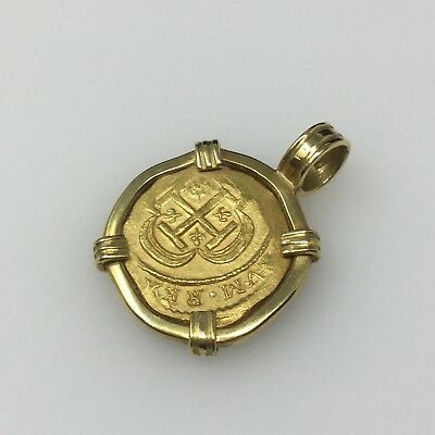 One of a Kind! Ancient Spanish Gold Coin in a 18kt Yellow Gold Gold Pendant!