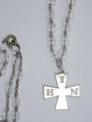 Antique Victorian 1886  Sterling Hin Maltese Cross + Rosary