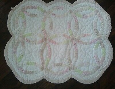 Martha Stewart Every Day Baby Baby Pink White Crib Quilt Throw Shabby Chic Roses