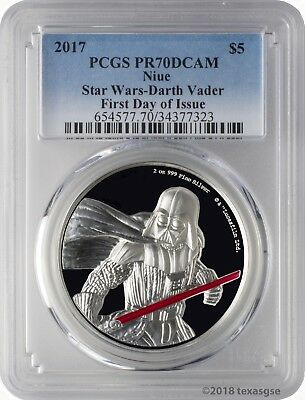 2017 $5 Niue Star Wars Darth Vader 2oz .999 Silver UHR Coin PCGS PR70DCAM FD