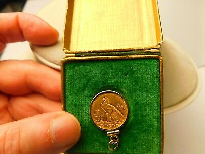 1912 - 2 and 1/2 dollar gold coin with bezel; in original Style by Dennison box