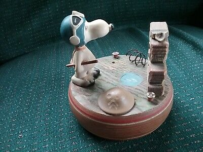 Vintage Snoopy Flying Ace Working Music Box Anri 1968