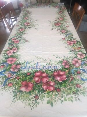 Vintage Stunning Decorated Tablecloth Flowers Birds Ribbons Banquet White Satin