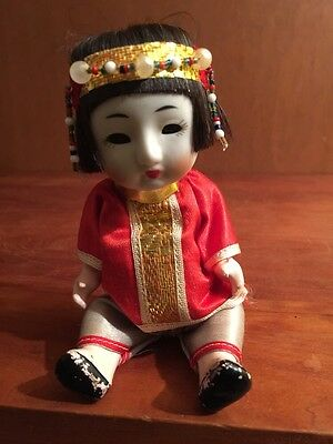 Vintage Asian Chinese Bisque Head Composition Body Squeaker Doll Sleepy 6""