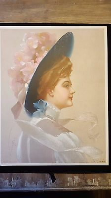 Vintage Original 1910 Victorian Lithograph Print Lady In Floral Hat Gibson Girl