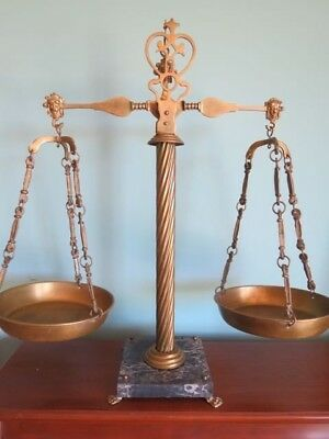 Vtg Brass Balance Scale of Justice Marble Base + extra set crystal Hanging Dish
