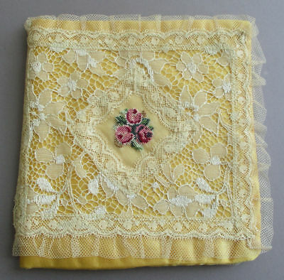 Antique Padded SILK Hanky Holder French LACE w Petit Point Embroidery PINK ROSES