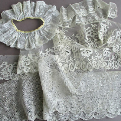 5 Antique French LACE Trims ALENCON Tambour Valenciennes Point de Paris * DOLLS